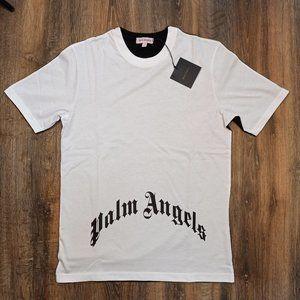 Palm Angels White Black Men's T-Shirt With Skull